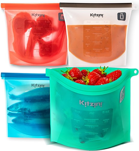 Reusable Silicone Food Bag 4-Pack - More Convenient and Cost Effective Than Plastic Bags - Hygienic and Leakproof Storage - Versatile and Safe To Use in Dishwasher, Microwave and Freezer (Quart Graphic)