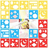 20 Pieces Geometric Shapes Stencils Set Colorful Drawing Templates Planner Painting Stencils for Toddlers and Kids Home Classroom DIY Craft Supplies