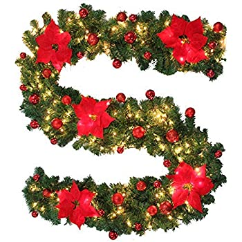 Christmas Items.Bullstar 9 Feet Christmas Decorations Christmas Garland With Lights Artificial Wreath With Berries And Pinecones Xmas Decorations For Stairs Wall Door