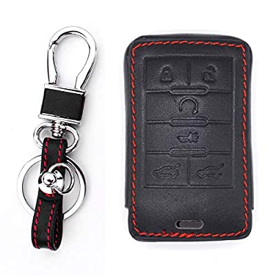 Royalfox(TM Genuine Leather Smart 6 Buttons Key Fob case Cover for Cadillac SRX 2010-2015,DTS 2006-2011,STS 2005-2011,XTS 2013,CTS 2008-2014,Escalade 2008 2009 2010 (Leather 6buttons): Automotive
