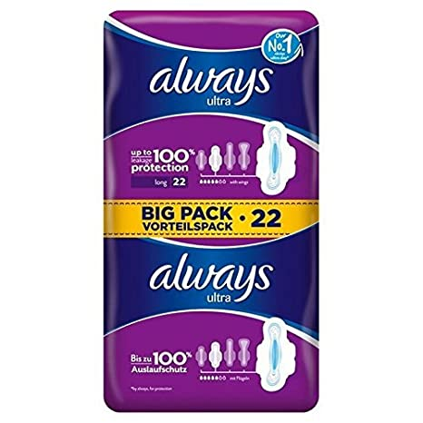 Toallas Sanitarias Más Largos Always Ultra Con Alas 2 X 11 Por Paquete: Amazon.es: Salud y cuidado personal