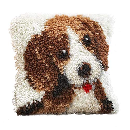 Latch Kit Classics Hook (BYT Collections 16 Model Latch Hook Kit Dog Cushion Cover DIY Craft Needlework Crocheting Cushion Embroidery 16inch by 16 inch BZ547)