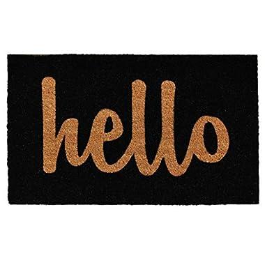 Home & More Black/Natural Script Hello Doormat, 2' x 3'