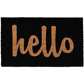 """Home & More Black/Natural Script Hello Doormat, 1'5"""" x 2'5"""""""