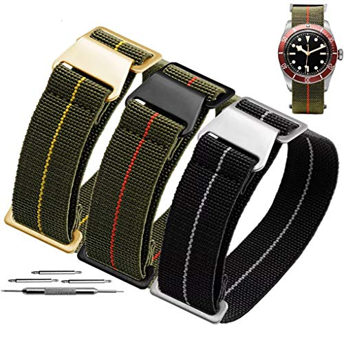 60's French Troops Parachute Special Elastic Nylon Watch Band Man's Universal Nylon Strap Army-Green ()