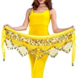 AUTULET Yellow Belly Dance Hip Scarves Waist Chain for Girls with 320 Coins Belly Dancer Accessories