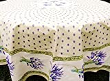 Le Cluny, Lavender Cream (Lavande Creme) French Provence 100 Percent COATED Cotton Tablecloth, 70 Inch Round