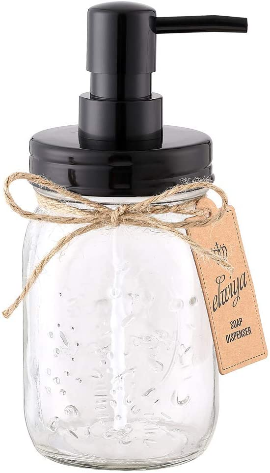 Elwiya Mason Jar Soap Dispenser - 16 Ounce Glass Mason Jar with Plastic Pump and Lid - Rust Proof - Rustic Bathroom Accessories &Kitchen Home Decor