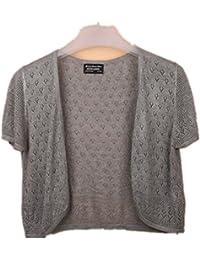 Women's Crochet Knitted Short Sleeve Shrug Cardigan Top