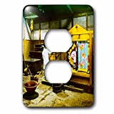 Scenes from the Past Magic Lantern Slides - Vintage Japanese Dying Kimono Fabric Textile Factory Old Japan 1890s - Light Switch Covers - 2 plug outlet cover (lsp_246559_6)