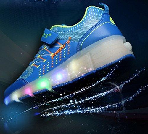 Zapatillas con ruedas automáticas y luces LED para niños - Azul - Talla 33: Amazon.es: Zapatos y complementos