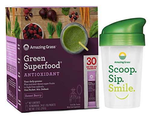 - Amazing Grass Green Superfood Sweet Berry Antioxidant Natural Organic Smoothie | Detox cleanse weight loss | Elderberry, Wheatgrass, and 7 Super Greens | 30 Count Packets | Bonus Shaker Cup