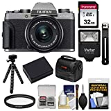 Fujifilm X-T100 Digital Camera & 15-45mm XC OIS PZ Lens (Dark Silver) with 32GB Card + Battery + Tripod + Flash + Case + Kit