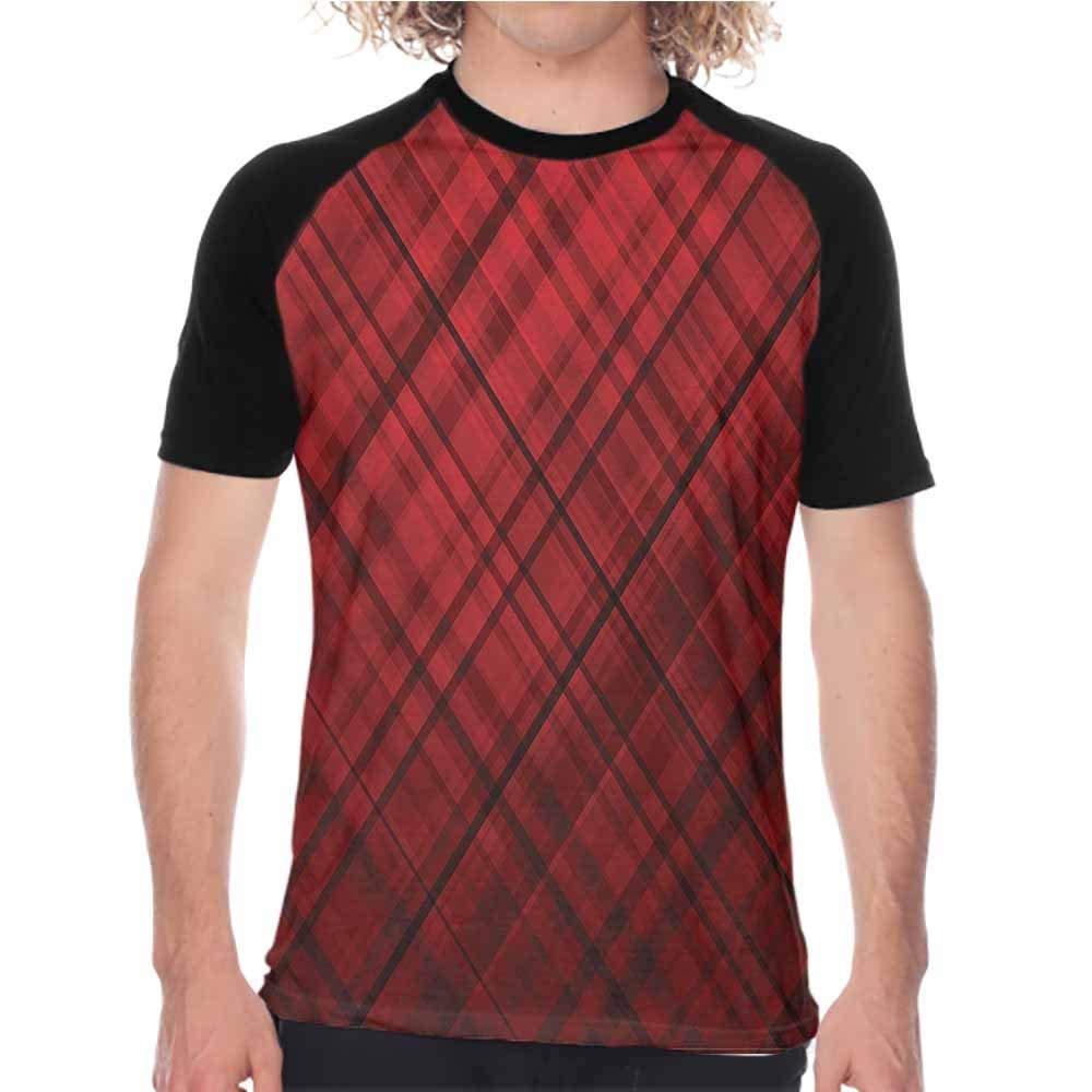 Houselife Red and Black,Raglan Sleeve Baseball Tshirt Fashion Model Lips,Mens Slim-Fit Short-Sleeve