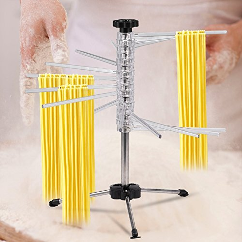 Collapsible Pasta Drying Rack, Stainless Steel Rotating Pole Homemade Fresh Pasta,Spaghetti Noddle Dryer Stand for Home Kitchen 18.5inch Height