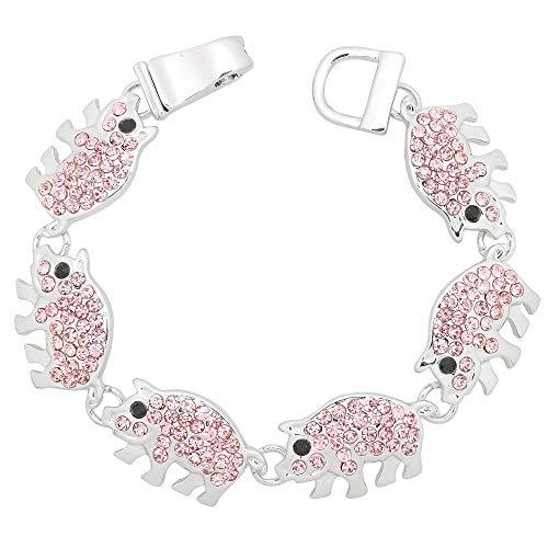 4EverSparkles Pink Pig Rhinestone Bracelet B3 Piglet Silver Tone Crystal Magnetic Clasp -