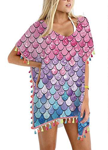 (Women's Mermaid Fish Scales Chiffon Rainbow Tassel Beach Swimwear Cover Up Swimsuit Beach Dress Pom Pom Trim Kaftan Bikini Swimwear Cover-Ups )
