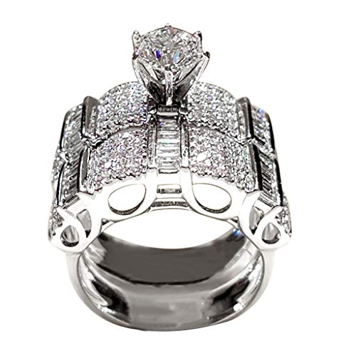 ✥ Shusuen ✥ 2 In 1 Chic Women White Diamond Ring Set Wedding Jewelry Valentine's Gift Shimmer Engagement Ring (White Engagement Necklace)