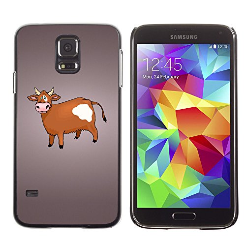 amsung Galaxy S5 cow brown farming animal rights drawing / Slim Black Plastic Case Cover Shell Armor