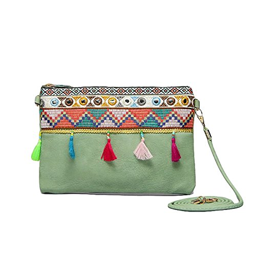 Boho Ladies Clutch Real Natural Leather Shoulder Bag with Tassels and Embroidery Adjustable Strap Bohemian Hippie Ethnic Purse (Green-New)