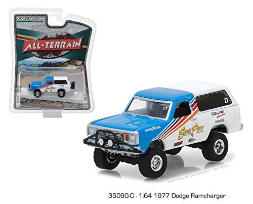 "Greenlight New 1:64 GREENLIGHT ALL-TERRAIN SERIES 6 COLLECTION - Blue/White 1977 Dodge Ramcharger ""South Point"" Diecast Model Car"