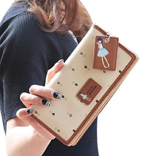 BESSKY 2015 Fashion Women Long Purse Clutch Zip Bag Card HolderWallet (Beige)