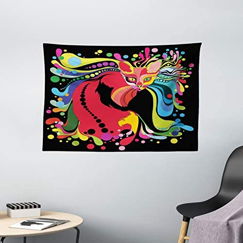 Ambesonne Psychedelic Tapestry, Futuristic Kitty Visual Print Fluid Swirling Color Burst Motifs Kitty Graphic, Wide Wall Hanging for Bedroom Living Room Dorm, 60 X 40 , Red Blue