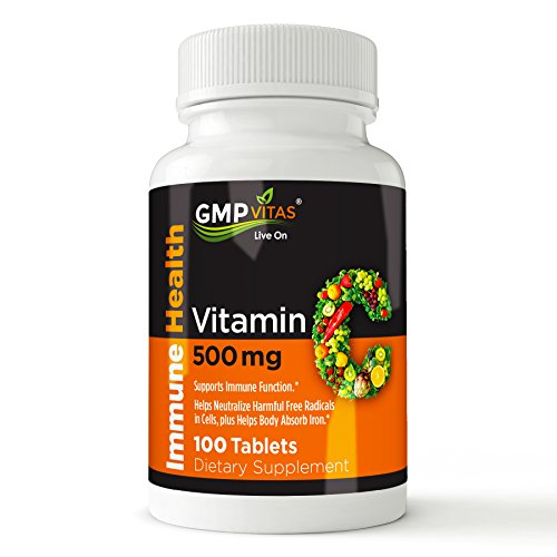 GMP Vitas Vitamin C, 500 mg, 100 Non-GMO Ascorbic Acid Tablets, boosts immune system, improves skin health, supports blood vessel and heart function, Fast shipping Review