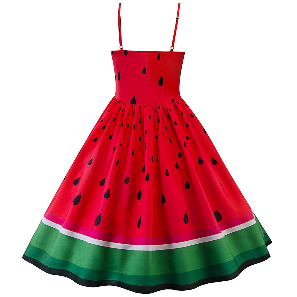 cebe9bf5c07 Freshmarque Women s Vintage Dresses Sweetheart Neckline Adjustable Strap  Sleeveless Watermelon Print Dress Red  Amazon.in  Clothing   Accessories