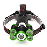 35000LM Zoom 5X XM-L T6 LED Rechargeable Headlamp Headlight Travel Head Torch Green