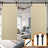 HomeDeco Hardware 18FT Sliding Wood Barn Door Hardware Kit Black Heavy Duty Interior Rolling Door Track Set for Double Doors with Classic I Shape Flat Hangers and Rail