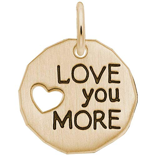 (Rembrandt Charms, Love You More, 22K Yellow Gold Plated Silver, Engravable)