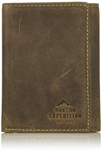Buxton Men's Expedition Ii RFID Blocking Leather Three-fold Wallet, Walnut, One - Fold Wallet Mens Three