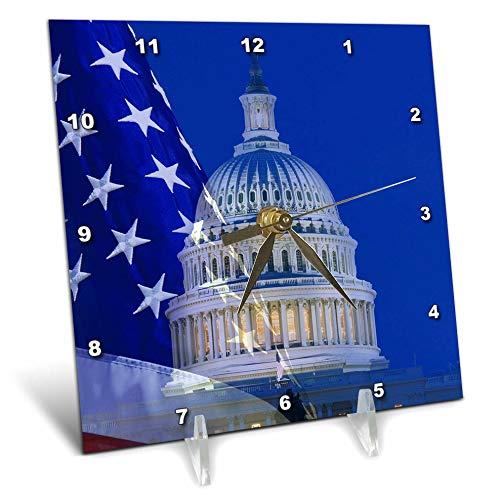 3dRose Danita Delimont - Washington DC - USA, Washington DC. Composite of Flag and Capitol Building at Night. - 6x6 Desk Clock (dc_314757_1)