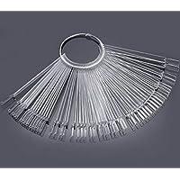 50 PCS Transparent Fan-shaped Nail Art Tips Display Polish Board Display Practice Sticks Tool(Transparent)