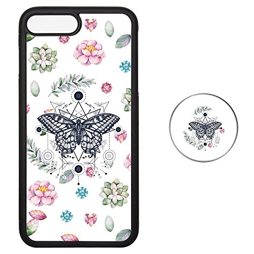 Set Butterfly Socket (Pop Up Socket Set iPhone 7 8 Plus Case with Phone Stand - Shock Proof Tire Protective Cover Color Matched Phone Shell - Pink & Green Succulents Butterfly)