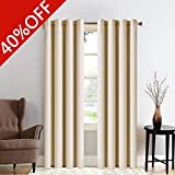 MEROUS Solid Blackout Curtain Thermal Insulated Window Treatments/Drapes with Grommet for Bedroom and Living Room(2 Panels,52*63 inch,Beige)