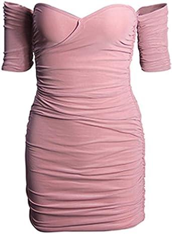 Sommermode Minikleid Ärmellos Sommerkleid Sling Kleid, Elecenty Reizvolle Hemdkleid Partykleid Abendkleider Frauen Schulterkleid Solides Strandkleid Cocktailkleid Abendkleid: Odzież