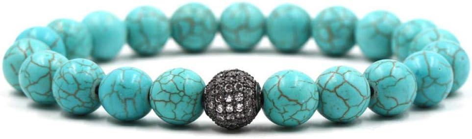 Magssdy Pulsera Piedra Natural Azul grieta Pulsera de Cuentas Pulsera de Moda de los Hombres Bola de Metal Hueco Exquisito Rhinestone joyería Micro con Incrustaciones Bracciali