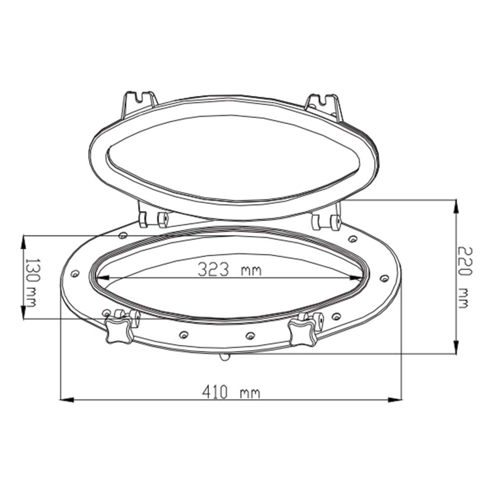 perfk Oval Opening Porthole Marine//Boat//RV Portlight Access Hatch Window