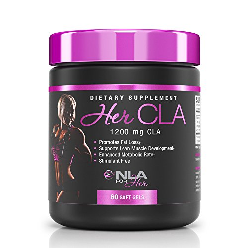 NLA for Her Her CLA 1200 mg CLA (Conjugated Linoleic Acid) Promotes Fat Loss (Stimulant Free), Supports Lean Muscle Development & Enhances Metabolic Rate 60 Soft Gels