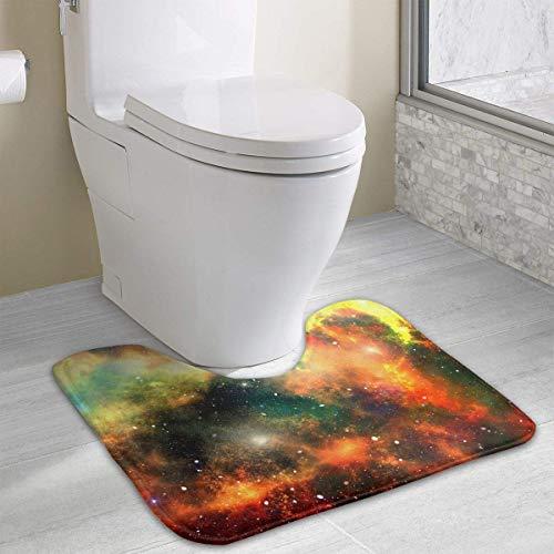 Beauregar Universe Contour Bath Rugs,U-Shaped Bath Mats,Soft Memory Foam Bathroom Carpet,Nonslip Toilet Floor Mat 19.2″x15.7″