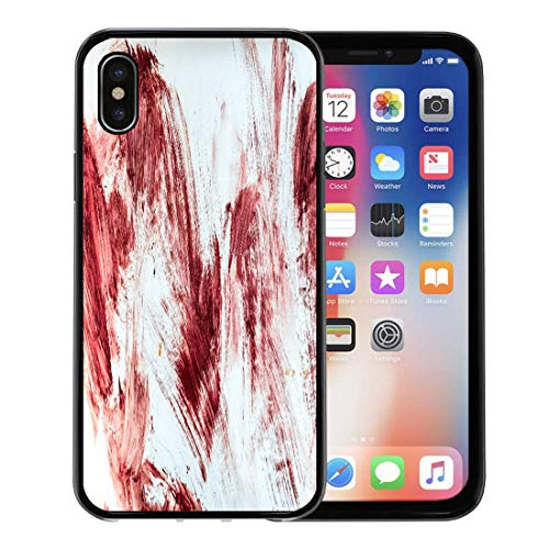 Semtomn Phone Case for Apple iPhone Xs case,Red Horror Blood and Bloody Marks in Old Bathtub Halloween Floor Hospital for iPhone X Case,Rubber Border Protective -
