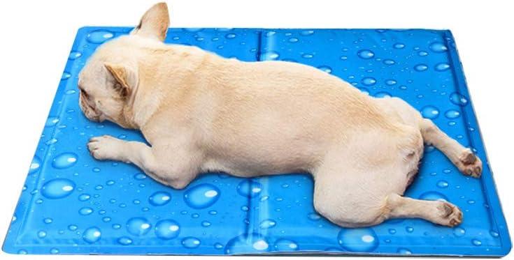 WZLJW - Alfombrilla de gel de enfriamiento para mascotas, perro o gato, para dormir de verano, alivio del calor, no tóxico, ayuda a que tu mascota se mantenga fresca, azul 90 x 50 cm