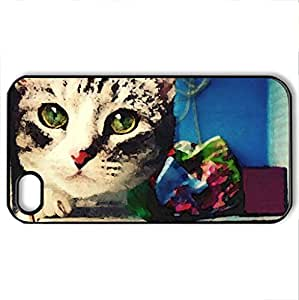 Bella - Case Cover for iPhone 4 and 4s (Cats Series, Watercolor style, Black)