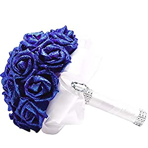 Shisay Artificial Flower Wreath - Wedding Bridal Bouquet Sequin Roses Flower Crystal Silk Ribbon Stem Holding Flowers for Home Party Floral Centerpieces Baby Shower Garden Craft Art Decor (Blue) 10