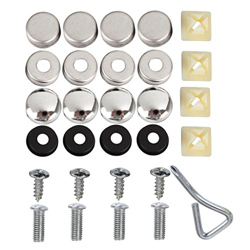 GraceMe Car Stainless Steel Black Front Rear License Plate Frame Set 2-Hole & Screws Bolts Fasteners Accessories Set (License Plate Frame Accessories-Silver) -