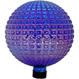 Sunnydaze Purple Textured Gazing Globe Glass Garden Ball, Outdoor Lawn and Yard Ornament, 10-Inch