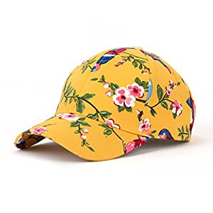 JOOWEN Floral Print Baseball Cap Adjustable 102% Cotton Canvas Dad Hat Hats For Women (Floral-Yellow)