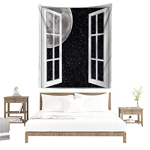 alisoso Christmas Tapestry,Galaxy Home Designer Decor,Full Moon Through Wooden Windows Fairy Scene at Night Space Art Picture Print,Astronomy W63 x L63 inch Towel Throw Tapestry Decor
